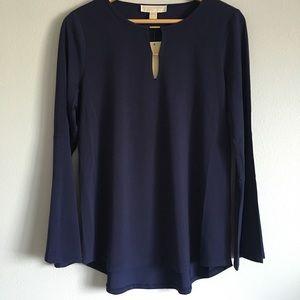 Michael Kors navy bell sleeved blouse